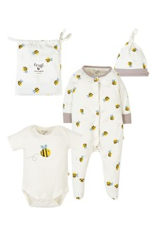 Frugi Cream Organic Cotton Buzzy Bee 3 Piece Gift Set