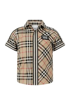 Boys Beige Check Cotton Short Sleeve Shirt