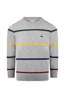 Boys Grey Striped Sweatshirt