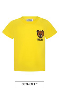Moschino Kids Baby Yellow Cotton T-Shirt