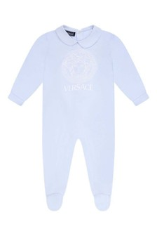Baby Boys Blue Cotton Logo Babygrow