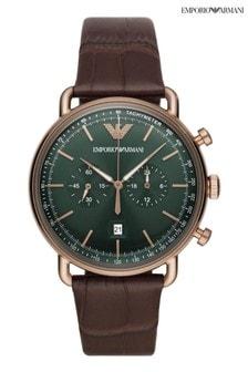 Emporio Armani Brown Aviator Watch