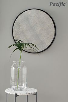 Matt Black Wood Round Mirror With Foxed Glass Wall Mirror by Pacific
