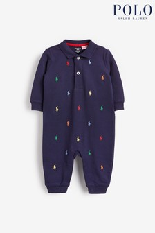 Ralph Lauren Navy Multi Logo Sleepsuit