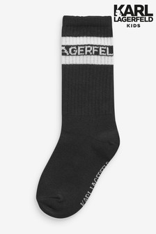Karl Lagerfeld Black Logo Socks