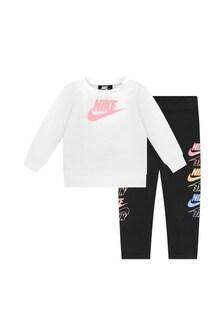 Baby Girls Black & White Cotton T-Shirt and Leggings Set