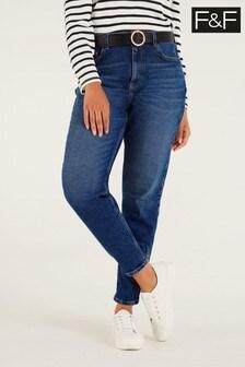 F&F Mom Indigo Belted Jeans