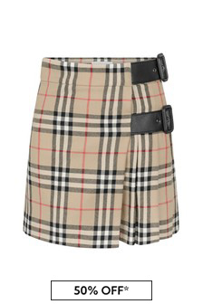 Girls Beige Check Wool Skirt