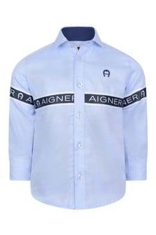 Boys Blue Cotton Logo Shirt
