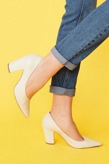 Bone Leather Asymmetric Cut Court Shoes