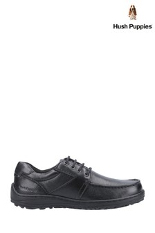 Hush Puppies Black Theo Lace-Up Moccasins