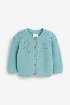 Teal Pointelle Detailed Cardigan (0mths-2yrs)