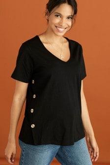 Black Maternity Nursing Button Side T-Shirt