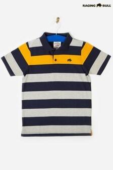 Raging Bull Navy Irregular Stripe Polo
