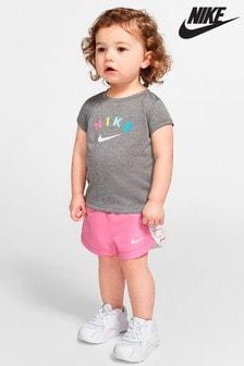 Nike Infant Grey Stripe T-Shirt And Shorts Set
