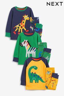 Blue/Green/Yellow Animals 3 Pack Snuggle Pyjamas (9mths-10yrs)