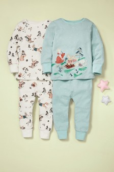 Mint 2 Pack Winter Character Appliqué Snuggle Pyjamas (9mths-8yrs)