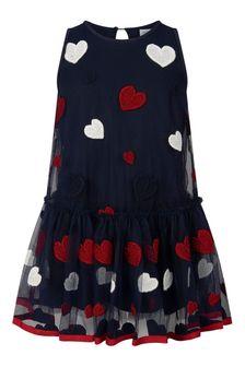 فستان تول أزرق داكن وأحمر قلوببناتي