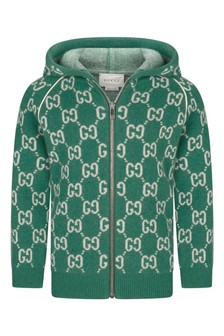 Baby Boys Green Wool Knitted GG Zip-Up Cardigan