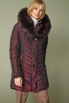 Cherry Faux Fur Padded Jacket