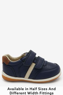 Navy Standard Fit (F) Leather First Walker Shoes