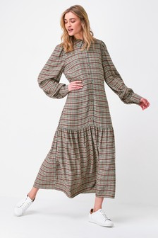 Neutral Check Tiered Midi Shirt Dress