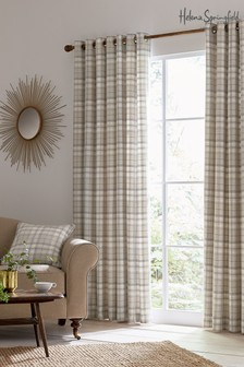 Helena Springfield Harriet Check Lined Eyelet Curtains