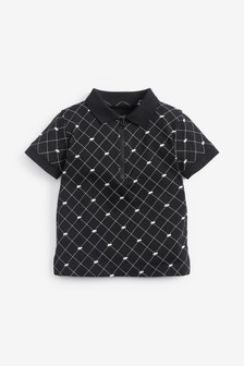 Black/White Printed Dino Short Sleeved Jersey Zip Neck Polo (3mths-7yrs)