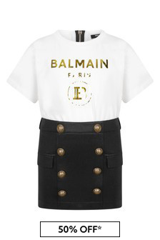 Balmain Girls White Cotton Dress