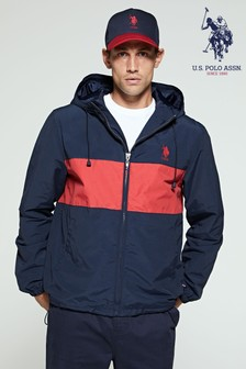 U.S. Polo Assn. Blue Colourblock Hooded Jacket