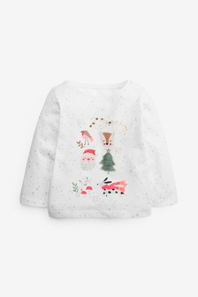 Cream Glitter Spot Christmas Top (3mths-7yrs)