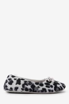 Grey Animal Ballerina Slippers