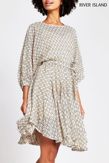 River Island Beige Lace Waist Dress