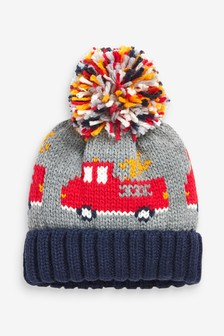 Grey Fire Truck Pom Beanie Hat (Younger)