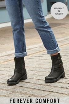 Black Forever Comfort® Biker Boots