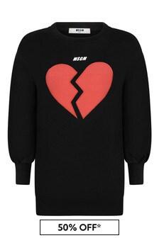 MSGM Girls Black Cotton Broken Heart Logo Dress
