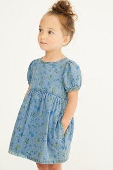 Blue Floral Puff Sleeve Denim Dress (3mths-7yrs)