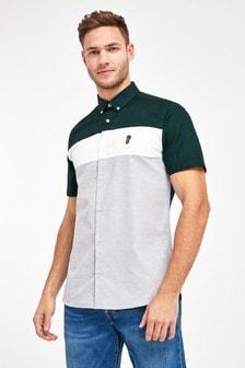 Green Slim Fit Stretch Oxford Colourblock Short Sleeve Shirt