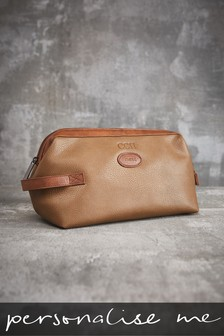 Personalised Faux Leather Tan Washbag
