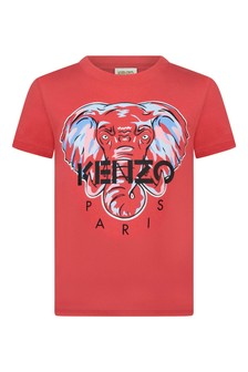 Boys Red Elephant Cotton T-Shirt