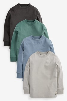 Multi 4 Pack Long Sleeve Cosy T-Shirts (3-16yrs)