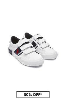 Boys White Velcro Trainers