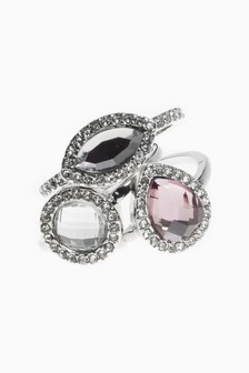 Silver Tone/Pink Crystal Effect Ring Pack