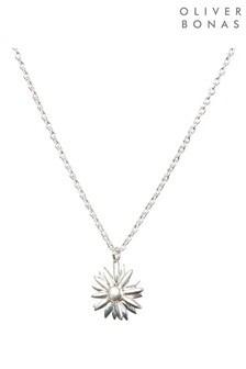 Oliver Bonas Daisy Casting Silver Pendant Necklace