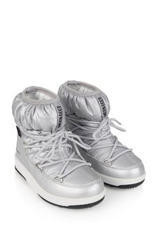 Girls Silver Nylon Snow Boots
