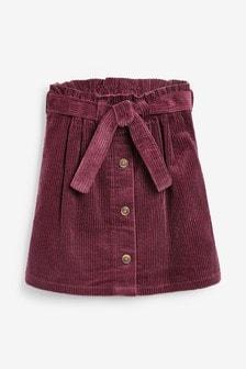 Plum Tie Belt Cord Skirt (3-16yrs)