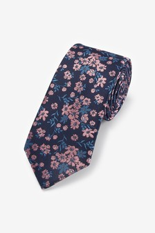 Navy/Pink Floral Regular Pattern Tie