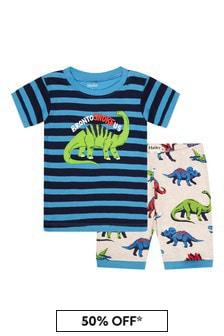 طقم بيجاما شورت قطن عضوي أزرق ديناصورات أولادي