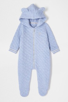River Island Blue Marl Quilted All-In-One With Feet