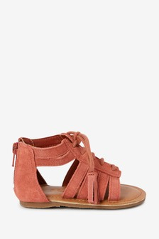 Rust Leather Gladiator Sandals (Younger)
